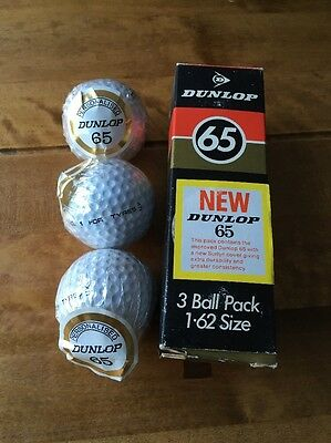VINTAGE BOX DUNLOP 65 GOLF BALLS UNUSED. rare Personalised Balls. 3 Ball Pack.