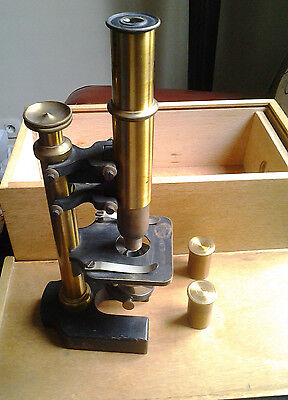 Antique french BRASS MICROSCOPE student M. Pierron