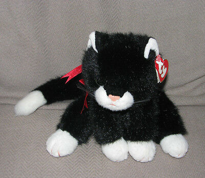 """Ty Classic Boots Black White Kitty Cat Plush Vintage 1997 10"""" Toy W/ Hang Tag"""