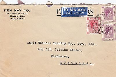 Stamps 1940 Hong Kong various KGV1 issues on cover sent airmail to Australia