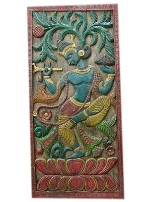 Antique Vintage Hand Carved Fluting Krishna Carving Wall Panel Wall Sculpture
