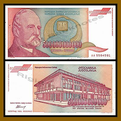 Yugoslavia 500000000000 (500 Billion) Dinara, 1993 P-137 Cir
