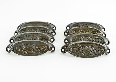 8 Ant Vtg Fancy Floral Cast Iron Apothecary Desk Drawer Bin/Chest Pull Handles