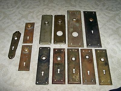 Lot of 12 Vintage Various Brass/Metal Finished Door Knob Plates