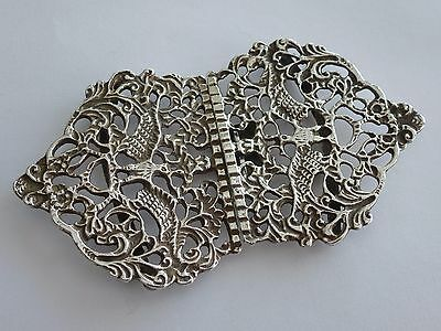 *lovely Vintage Solid Silver Birmingham 1984 Bird Foliates Design Nurses Buckle*