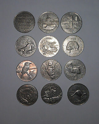 Full Set 12 x 1988 Darling Harbour Sydney Monorail Tokens (9 animals & 3 titles)