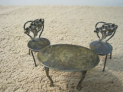 Unique Sterling Silver Set Marked Table And Chairs Vintage Miniature