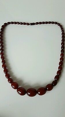 VINTAGE ART DECO Genuine CHERRY AMBER BAKELITE Prayer GRADUATING BEADED NECKLACE