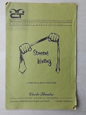 Community Theatre Playbill - Someone Waiting - Roy Baxter - Ruth Fry
