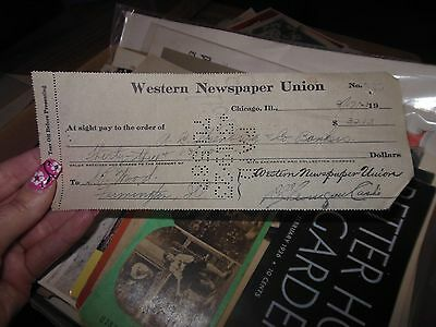 1923 Check From Western Union Newspaper Chicago Illinois $33.13