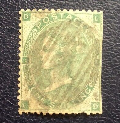Stamps Great Britain Sc48 (A21) 1sh green plate 1 of 1862 with light cancel