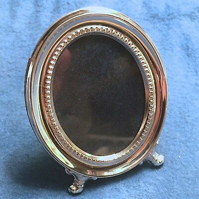 "Vintage Miniature Sterling Silver 925 Picture Frame - ""Josephine"": Oval Fluted"