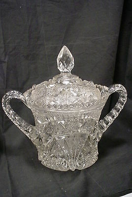 HUGE Vintage Pressed Glass Sugar Bowl Candy Dish with Lid