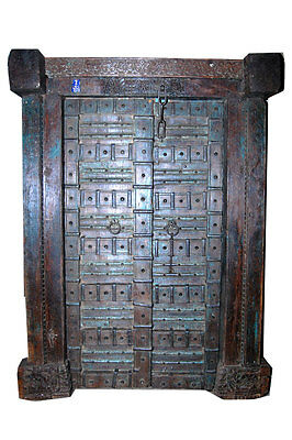 ANTIQUE DOOR BLUE PATINA GOTHIC EXTERIOR INTERIOR DOORS + FRAME SHABBY CHIC 18c