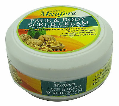 Mxofere Natural Face And Body Scrub Cream With Walnut Shell Powder  3.5 Ounce