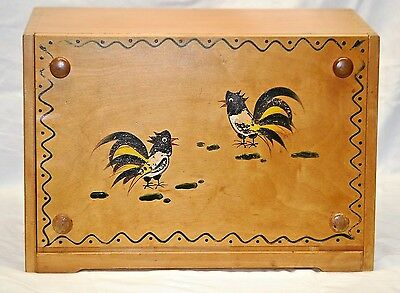 Old Vintage Wooden Bread Box w Cutting Board Kitchen Tool Rooster Pattern Japan