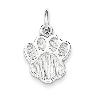 .925 Sterling Silver Polished & Textured Flat Back Dog Paw Print Charm