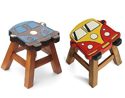 Childs Childrens Kids Wooden Stool Chair. Camper Van choice of 2 colours