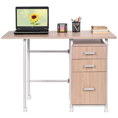 Folding Computer Laptop Desk Wheeled With 3 Drawers Home Office Furniture New