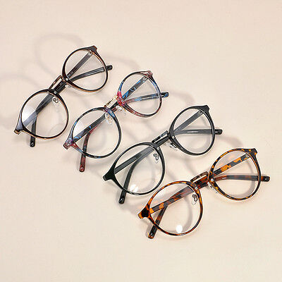 Men Women Unisex Vintage Clear Lens Eyeglasses Frame Retro Round Nerd Glasses YK