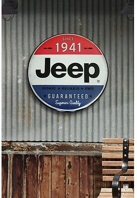 Jeep New Hollow Curved Tin Button Metal Garage Sign Wall Art Man Cave Home Decor