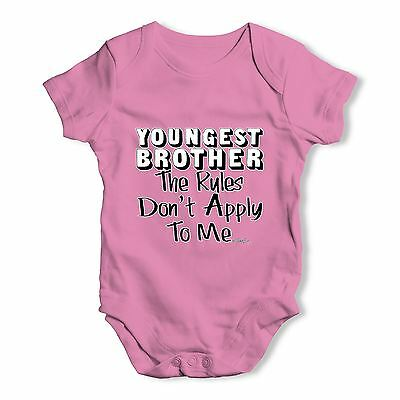 Twisted Envy Youngest Brother Rules Baby Unisex Funny Baby Grow Bodysuit