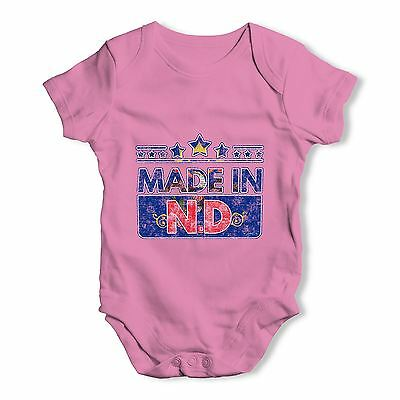 Twisted Envy Made In ND North Dakota Baby Unisex Funny Baby Grow Bodysuit