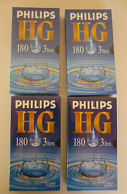 PHILIPS HG 180 3 hrs Blank VHS Tape Lot X4 Brand New Sealed *VCR
