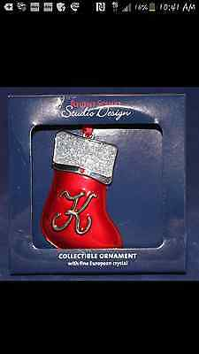 Nib Regent Square Christmas Stocking Ornament Letter Initial K European Crystal