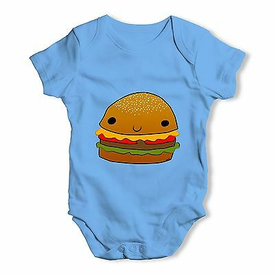 Twisted Envy Smiling Cheese Burger Baby Unisex Funny Baby Grow Bodysuit