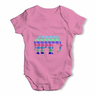 Twisted Envy Elephants Pattern Baby Unisex Funny Baby Grow Bodysuit