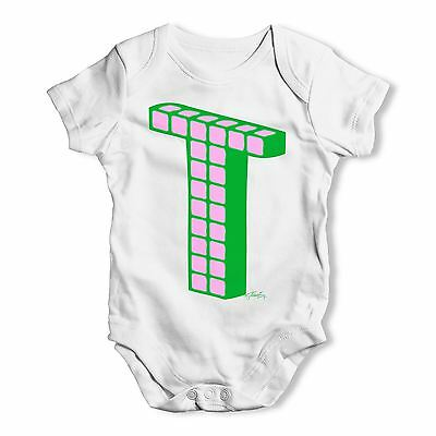 Twisted Envy Alphabet Letter T Baby Unisex Funny Baby Grow Bodysuit