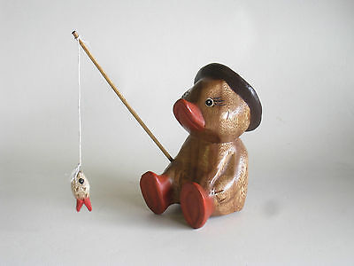 Wooden Hand Carved Fishing Duck 18cm......