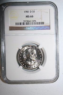 1981 D MS 66 Susan B Anthony Dollar NGC SBA #76