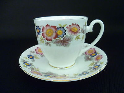 CROWN FENTON PINK FLORAL COFFEE CUPS AND SAUCERS (u)