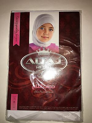 Muslim Kids Girls Plain White School Hijab Head Cover Scarf.