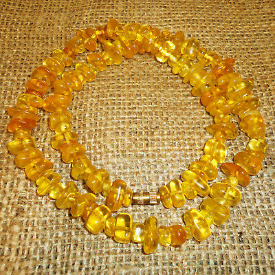 45gr! Antique Genuine Baltic Egg Yolk Amber Necklace. Very Beautiful! 122