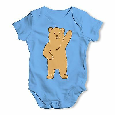 Twisted Envy Silly Bear Waving Baby Unisex Funny Baby Grow Bodysuit