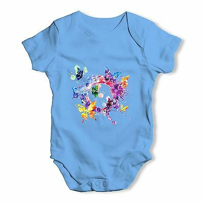 Twisted Envy Watercolour Butterflies Baby Unisex Funny Baby Grow Bodysuit