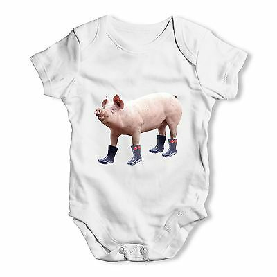 Twisted Envy Pig In Boots Baby Unisex Funny Baby Grow Bodysuit