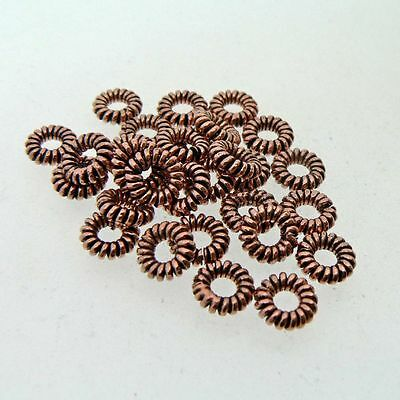 Copper Wire Spacer Beads (Pack of 25) Solid Copper Antiqued