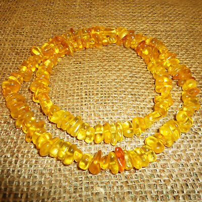 46gr! Antique Genuine Baltic Egg Yolk Amber Necklace. Very Beautiful! 125