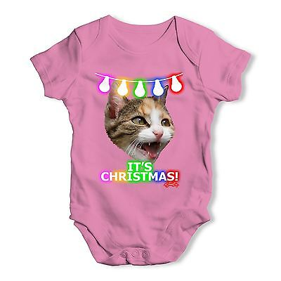 Twisted Envy It's Christmas! Cat Baby Unisex Funny Baby Grow Bodysuit