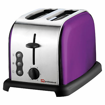 PRO Modern 2 Wide Slice Defrost Reheat Toaster 6 Level Browning Control Purple