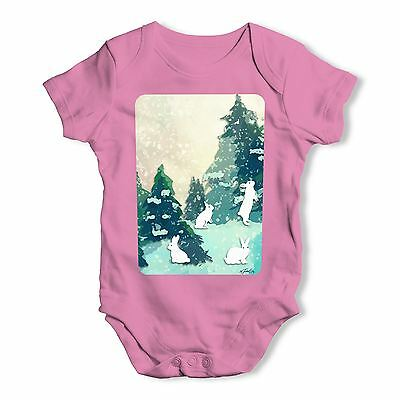Twisted Envy Rabbits in Snow Covered Woods Baby Unisex Funny Baby Grow Bodysuit