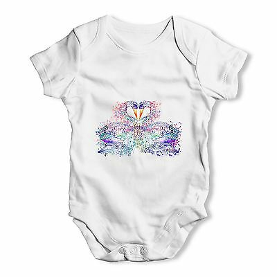 Twisted Envy Watercolour Rainbow Swans Baby Unisex Funny Baby Grow Bodysuit