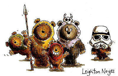 Star Wars Ewok Family Return of the Jedi original signed watercolour painting