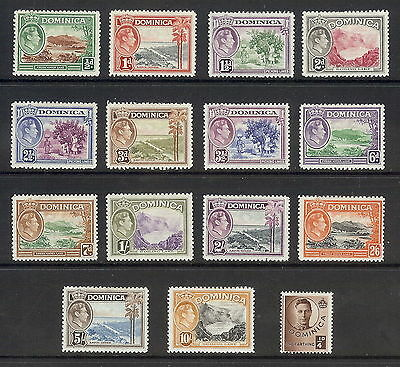 Dominica 1938 - 47 Set of 15. SG 99 - 108a. MH