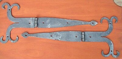 Pair O' 15 inch Pa.Dutch Style Ram Horn Strap Hinges, by Blacksmiths