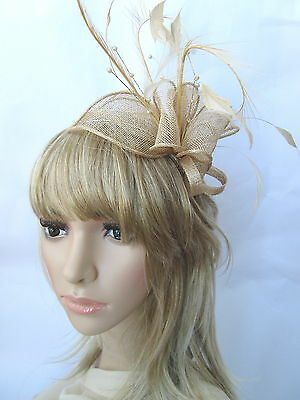 New Pale Gold Sinamay & Feather Fascinator..wedding Races..